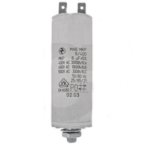 Kondensator 25 µF Topf-Ø 40 mm, Topflänge 92 mm, Gewindebolzen M8, für Häcksler, Hochdruckreiniger,